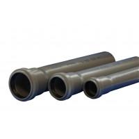 Труба PP серый Дн50х1,8 б/нап L=0,5м в комплекте Стандарт (100) Политэк  115050