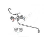 Смеситель для ванны/умыв Стандарт 674-3К пл/маховик длинный излив к/затвор Подольск СМ504402
