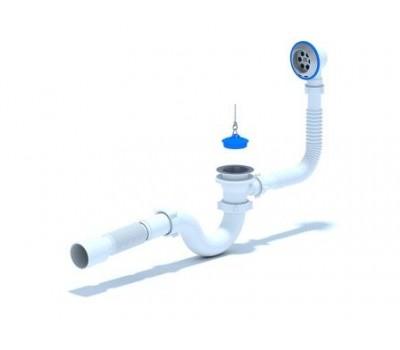 """Сифон для ванны 1 1/2""""х50 с гибкой трубой 40/50, с пробкой на цепочке нерж/сетка АНИ E155"""