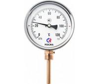 Термометр биметаллический БТ-52.211 радиальный Дк100 1,6МПа L=64мм кл.1,5 с защит.гильзой G1/2 120C (20) Росма 00000002644