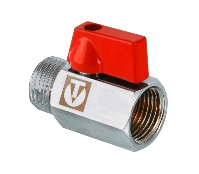 Кран шаровой латунь VT.331 красный Ду15 ВР/НР мини (160/20) Valtec VT.331.N.04