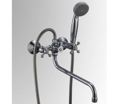 Смеситель для ванны Коттедж двуручный длинный излив флажковый хром Славен СЛ-ДВ-А31