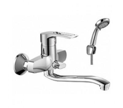 Смеситель для ванны  одноручный S-излив с керамическим дивертором хром L=350мм ROSSINKA T40-34