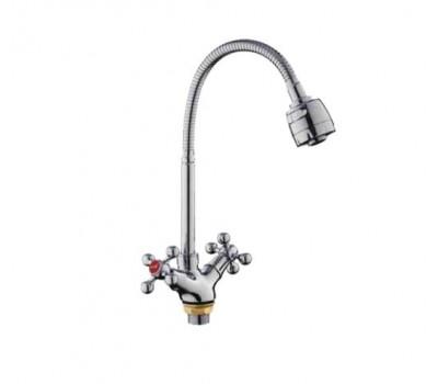 Смеситель для кухни  двуручный гибкий излив гайка хром Frap F4319
