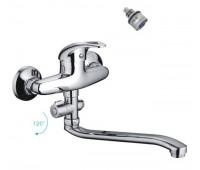 Смеситель для ванны  одноручный изогнутый излив картридж 40мм хром хром Frap F2102-B