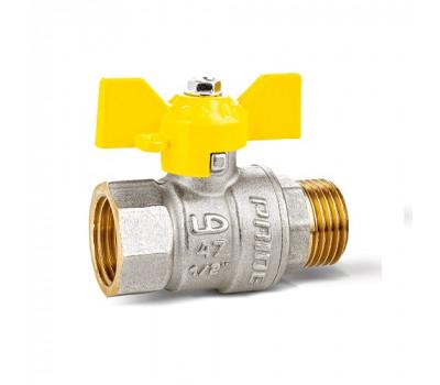 Кран шаровой латунь газ 11б27п Ду20 Ру40 ВР/НР бабочка (80) LD Pride LD 47.352.20