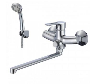 Смеситель для ванны  плоский излив кнопочный хром L=350мм ROSSINKA RS43-32