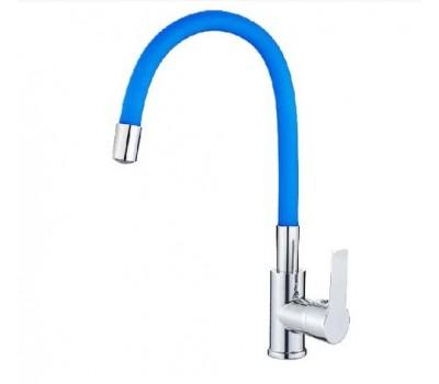 Смеситель для кухни  одноручный гибкий излив шпилька латунь хром синий Haiba HB70112-4