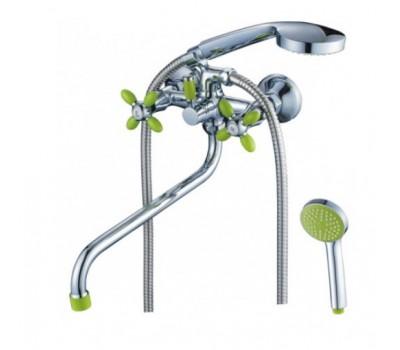 Смеситель для ванны  двуручный изогнутый излив силумин хром зеленый CRON CN22127-12
