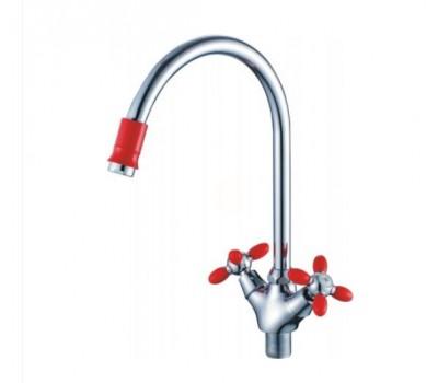 Смеситель для кухни  двуручный высокий излив гайка силумин хром красный CRON CN46127-6