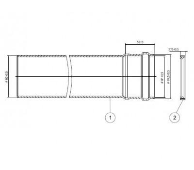 Удлинитель алюминий Ду80 L=0,5м для котлов Рысь,Ягуар Protherm 3003200578