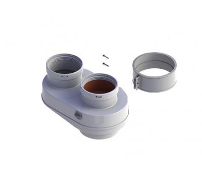 Адаптер дымохода алюминий Ду80/80 двухканальный с ревизионным отверстием для котлов Рысь,Ягуар Protherm 3002186608