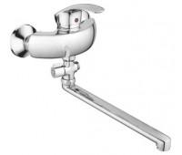 Смеситель для ванны  одноручный длинный излив силумин хром CRON CN2121